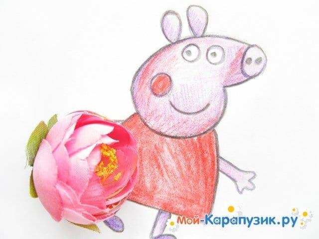 Поэтапное рисование свинки Пеппы цветными карандашами - фото 15