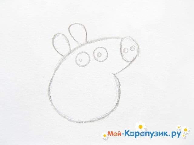 Поэтапное рисование свинки Пеппы цветными карандашами - фото 4