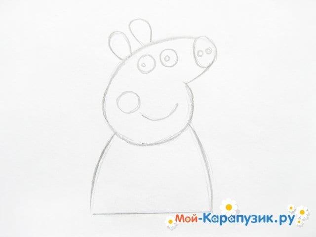 Поэтапное рисование свинки Пеппы цветными карандашами - фото 5