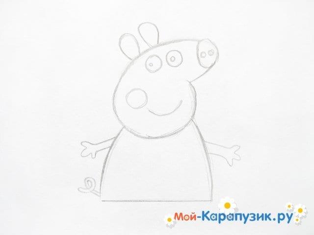 Поэтапное рисование свинки Пеппы цветными карандашами - фото 6