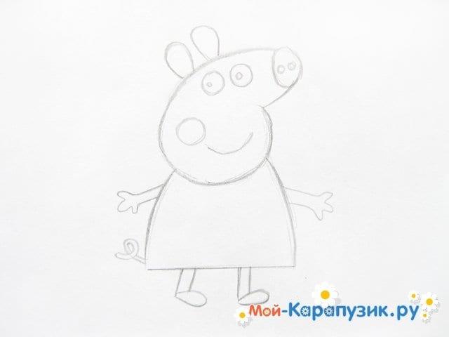 Поэтапное рисование свинки Пеппы цветными карандашами - фото 7