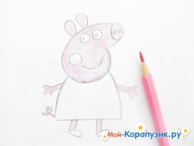 Поэтапное рисование свинки Пеппы цветными карандашами - фото 8