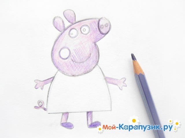 Поэтапное рисование свинки Пеппы цветными карандашами - фото 9