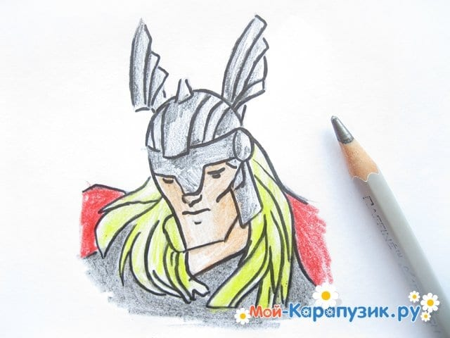 Поэтапное рисование Тора цветными карандашами - фото 11