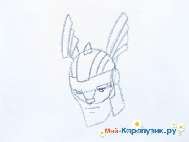 Поэтапное рисование Тора цветными карандашами - фото 5