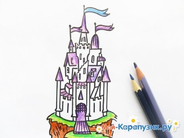 Поэтапное рисование замка цветными карандашами - фото 11