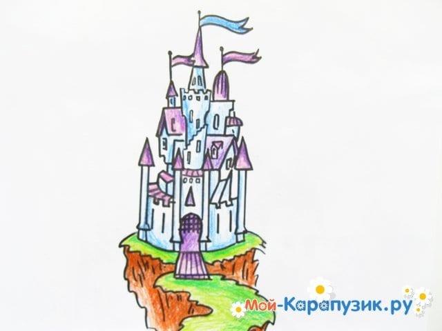 Поэтапное рисование замка цветными карандашами - фото 13