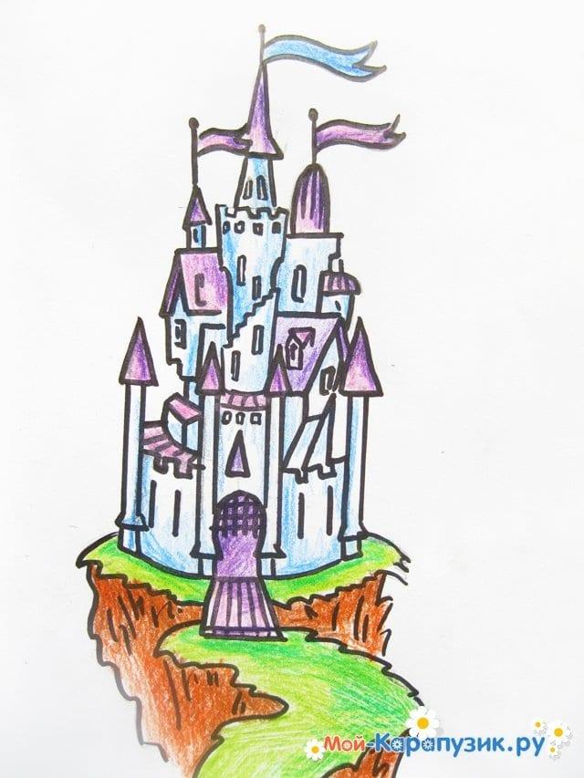 Поэтапное рисование замка цветными карандашами - фото 14