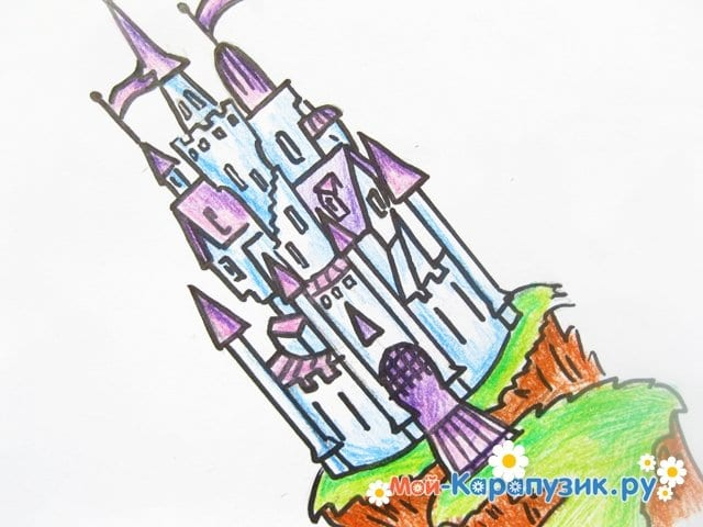 Поэтапное рисование замка цветными карандашами - фото 15