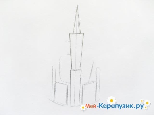Поэтапное рисование замка цветными карандашами - фото 2