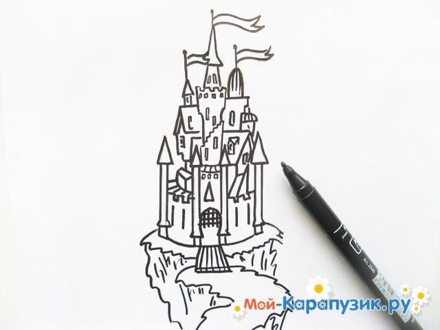 Поэтапное рисование замка цветными карандашами - фото 7