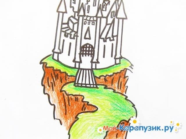 Поэтапное рисование замка цветными карандашами - фото 9