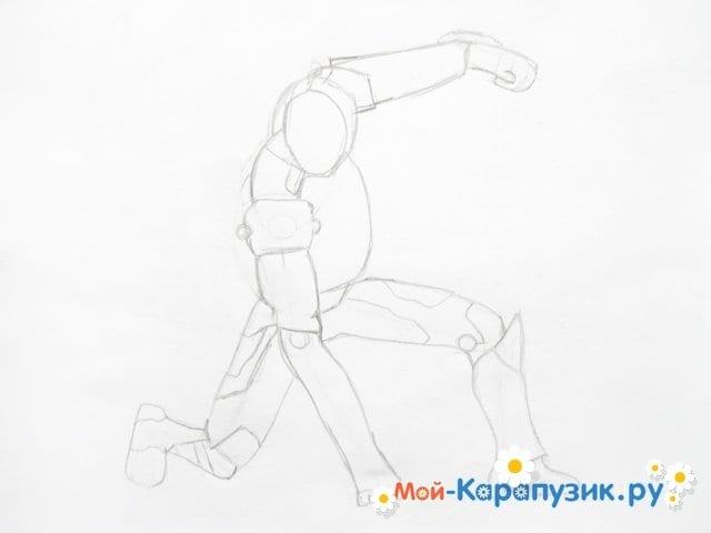 Поэтапное рисование железного человека цветными карандашами - фото 4