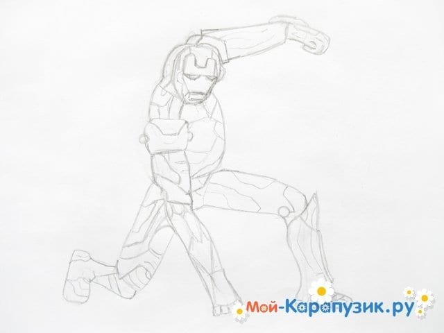Поэтапное рисование железного человека цветными карандашами - фото 6
