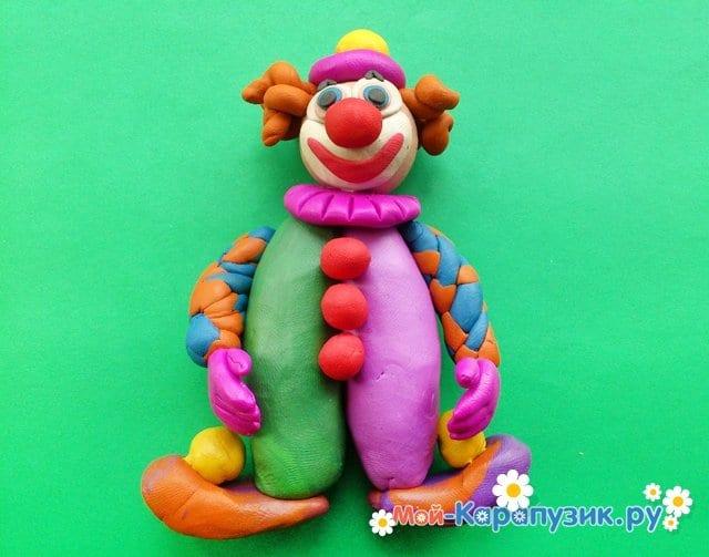 Лепка клоуна из пластилина - фото 14