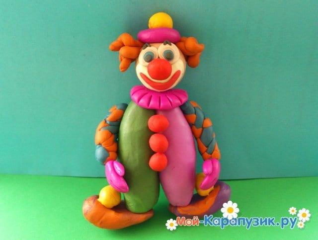 Лепка клоуна из пластилина - фото 15