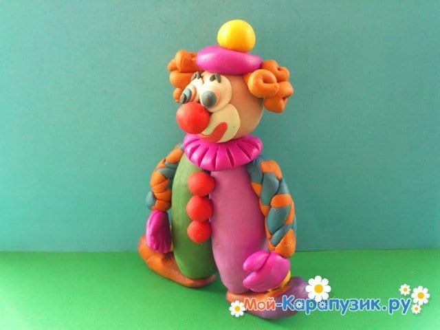 Лепка клоуна из пластилина - фото 16