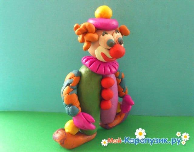 Лепка клоуна из пластилина - фото 17