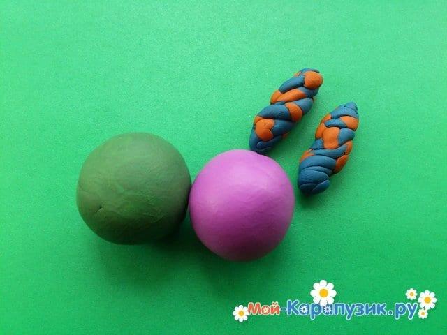 Лепка клоуна из пластилина - фото 7