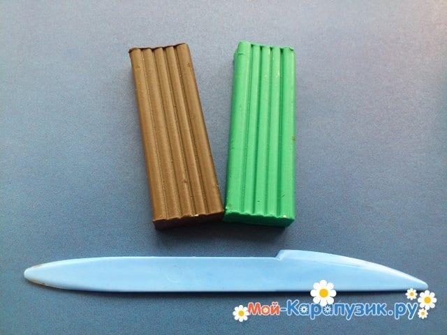 Лепка пальмы из пластилина - фото 1