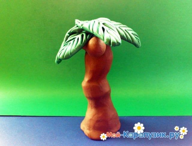 Лепка пальмы из пластилина - фото 14