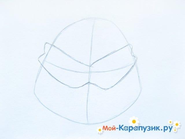 Поэтапное рисование головы черепашки-ниндзя - фото 3