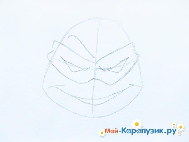Поэтапное рисование головы черепашки-ниндзя - фото 4