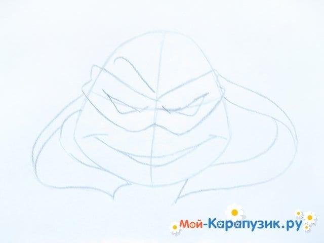 Поэтапное рисование головы черепашки-ниндзя - фото 5