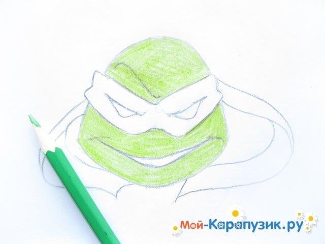 Поэтапное рисование головы черепашки-ниндзя - фото 7