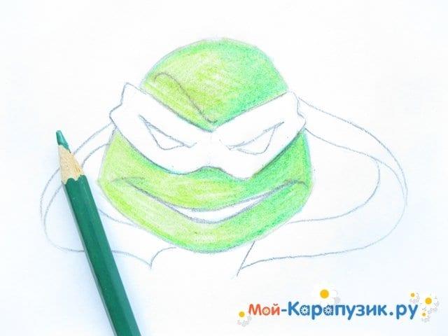Поэтапное рисование головы черепашки-ниндзя - фото 8