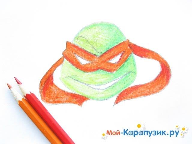 Поэтапное рисование головы черепашки-ниндзя - фото 9