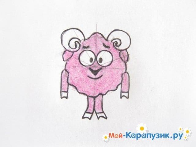 Поэтапное рисование Бараша из Смешариков цветными карандашами - фото 10