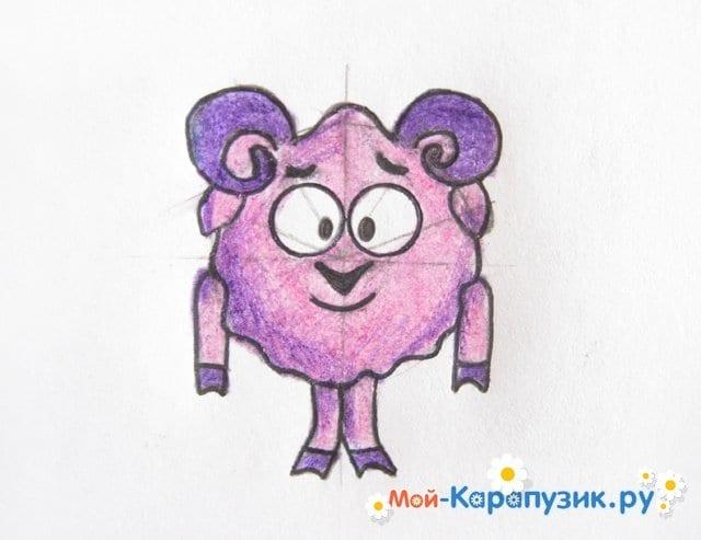 Поэтапное рисование Бараша из Смешариков цветными карандашами - фото 11
