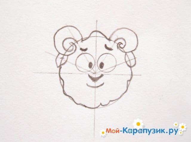 Поэтапное рисование Бараша из Смешариков цветными карандашами - фото 6
