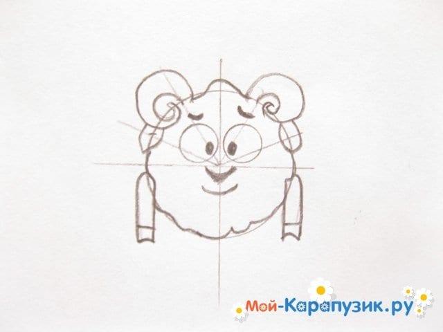 Поэтапное рисование Бараша из Смешариков цветными карандашами - фото 7