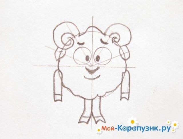 Поэтапное рисование Бараша из Смешариков цветными карандашами - фото 8