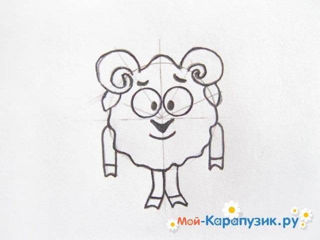 Поэтапное рисование Бараша из Смешариков цветными карандашами - фото 9