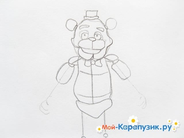 Поэтапное рисование мишки Фредди - фото 10