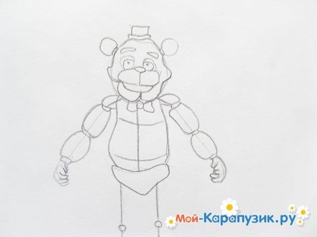 Поэтапное рисование мишки Фредди - фото 11