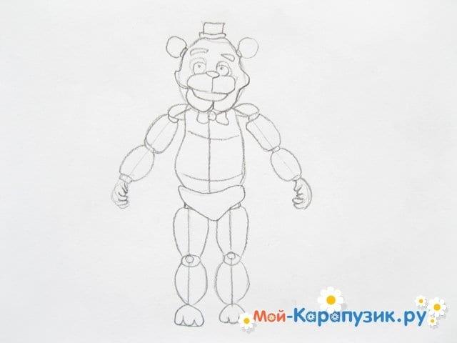 Поэтапное рисование мишки Фредди - фото 12