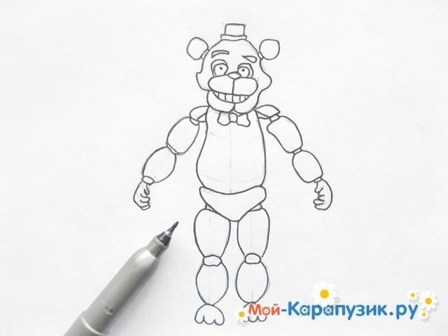 Поэтапное рисование мишки Фредди - фото 13