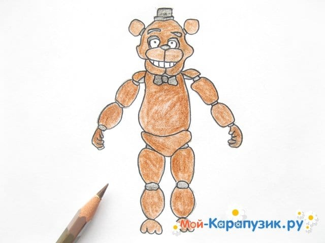 Поэтапное рисование мишки Фредди - фото 15