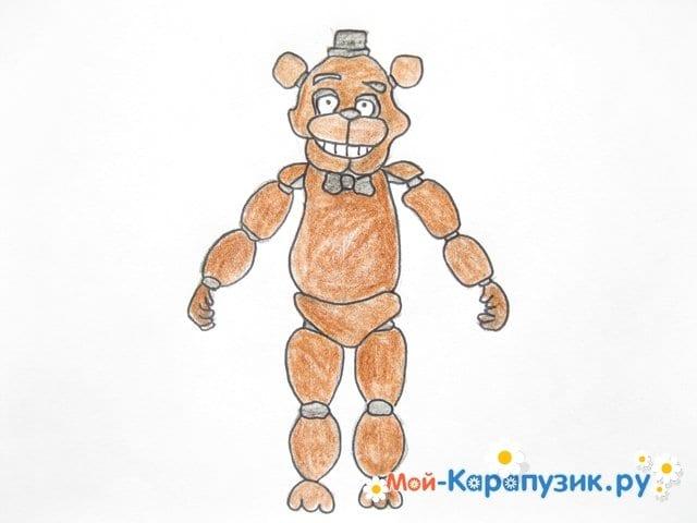 Поэтапное рисование мишки Фредди - фото 16
