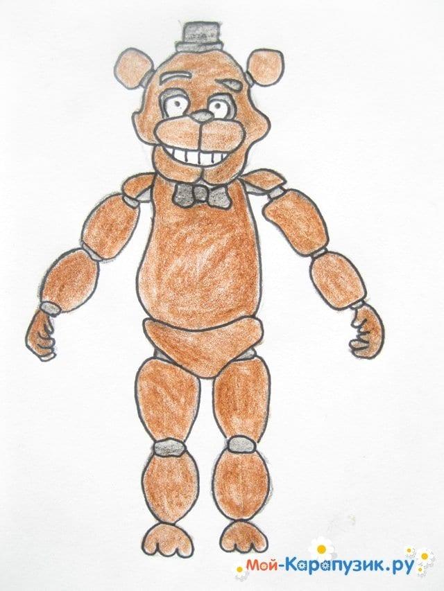 Поэтапное рисование мишки Фредди - фото 18
