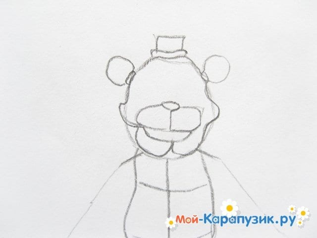 Поэтапное рисование мишки Фредди - фото 8