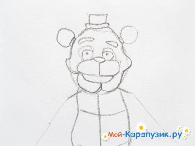 Поэтапное рисование мишки Фредди - фото 9