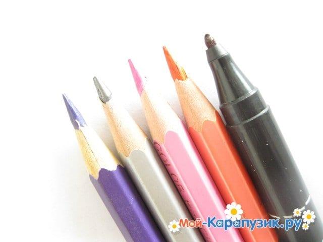 Поэтапное рисование Совуньи из смешариков цветными карандашами - фото 1