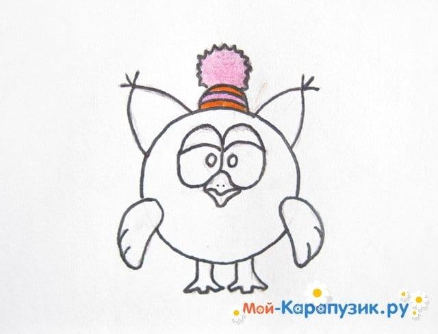 Поэтапное рисование Совуньи из смешариков цветными карандашами - фото 10