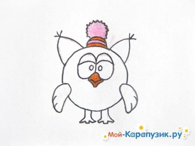 Поэтапное рисование Совуньи из смешариков цветными карандашами - фото 11