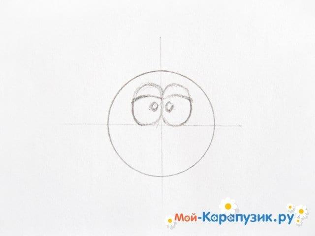 Поэтапное рисование Совуньи из смешариков цветными карандашами - фото 3